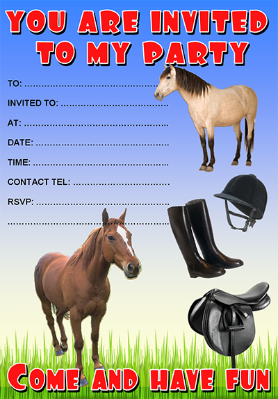 free printable horse invitations