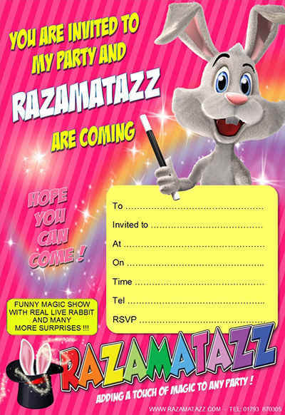 Razamatazz pink invitation