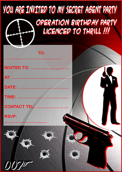 Party Invitations – Secret Agent Party Invitations